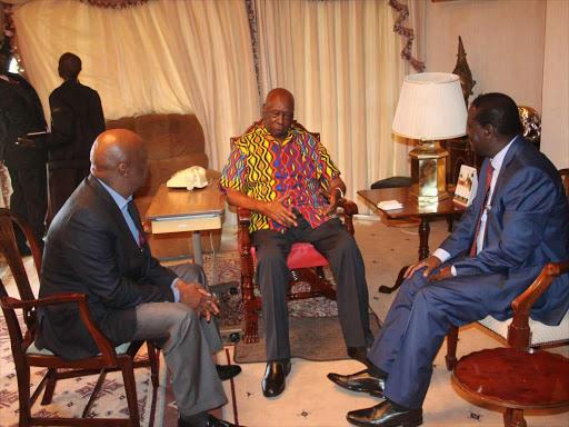 Former President Daniel Moi having a chat with ODM leader Raila Odinga and Baringo Senator Gideon Moi at his Kabarak residence in 2018.