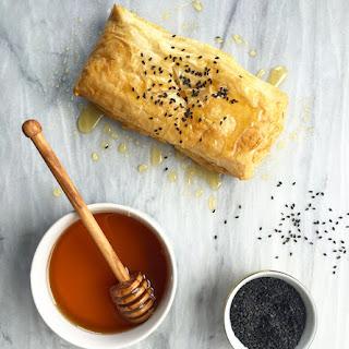 Baked Feta with Honey & Black Sesame Seeds.