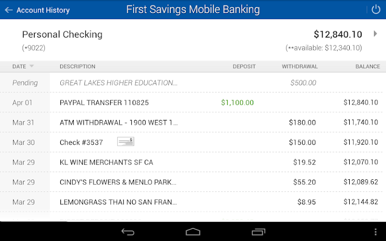 android First Savings Mobile Banking Screenshot 1