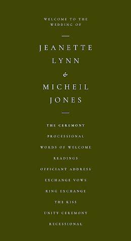 Lynn & Jones - Wedding Program item
