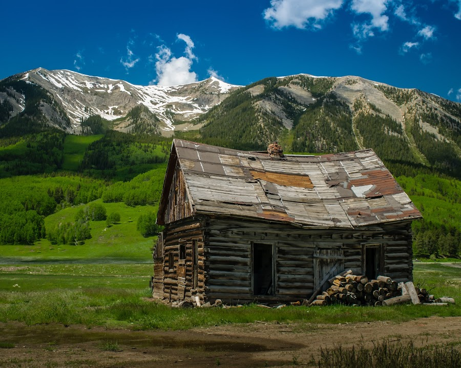 Whetstone Mountain by Mike Lacy - Landscapes Mountains & Hills ( crested butte, rustic cabin, whetstone mntn,  )