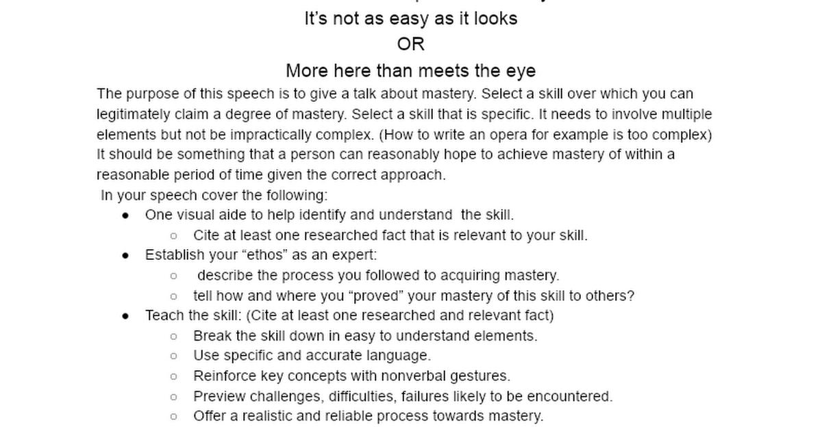 Informative Speech Assignment Google Docs