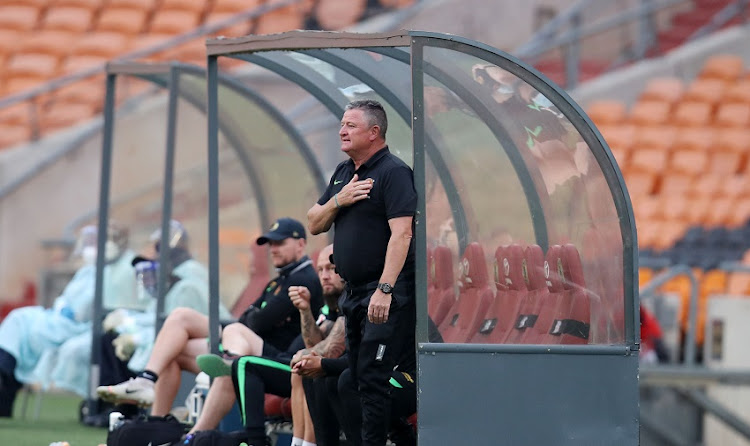 Gavin Hunt, head coach of Kaizer Chiefs during the DStv Premiership match between Kaizer Chiefs and Stellenbosch FC at FNB Stadium on April 06, 2021 in Johannesburg, South Africa.