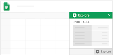 "A pivot table opens in a new tab, with the ""Explore"" feature nearby"