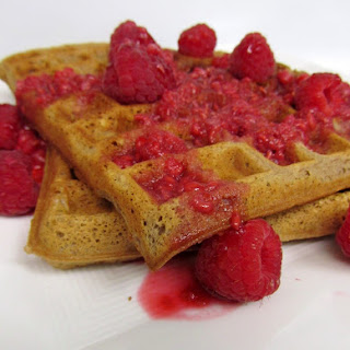 Nutella Waffles with Raspberry Syrup