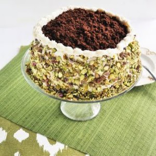 Chocolate and Brown Sugar Buttercream Rolled Cake with Crushed Pistachios