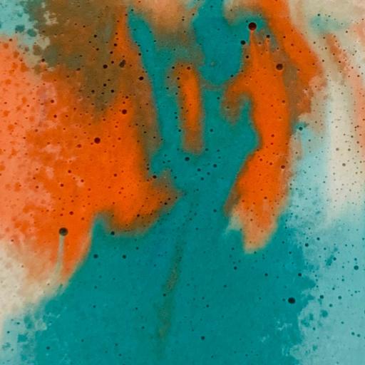béton marbré coloris turquoise et orange