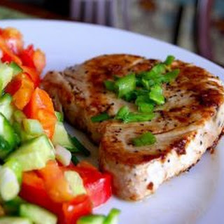 Tuna Steak With A Garnish Of Fresh Vegetables