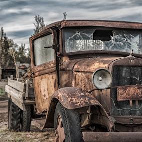 Days Gone By by Earl Heister - Transportation Automobiles ( broken window, truck, moody sky, rust, old truck,  )