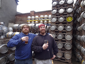 Photo: Tim and Charlie marvel at the delicious ales of Burton Bridge.