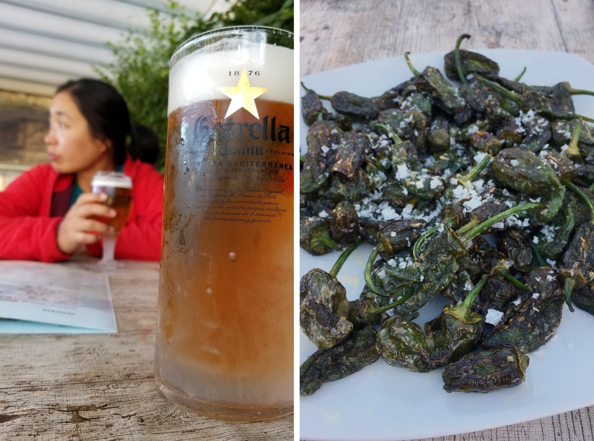 Icy-cold beer + fried padron peppers = match made in heaven post-hike sustenance