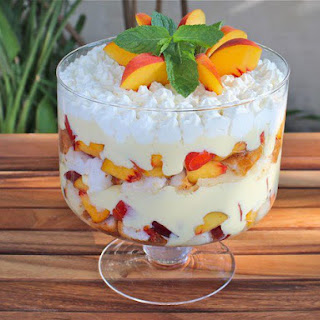 Tipsy Trifle with Peaches and Cream