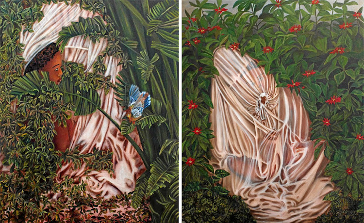Fantasy flora: The mosquito net and lush foliage are recurring themes in Kimathi Mafafo's Alone in Spring. Ambiance (left) depicts a naked woman in the bushes while Reverence (right) shows a woman hidden in a net.