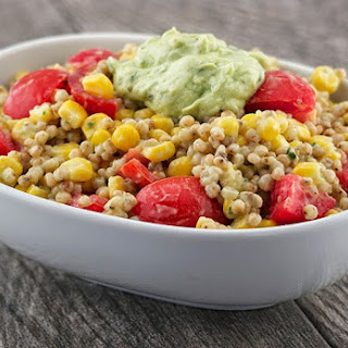 Summertime Sorghum Salad with Avocado Yogurt Dressing.