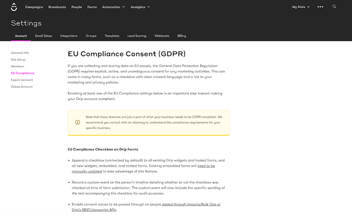 EU Compliance Features page