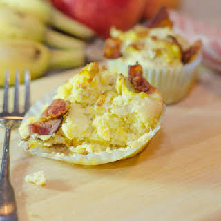 Breakfast Cornbread Cupcakes featuring Smokey Bacon, Gouda and Eggs.