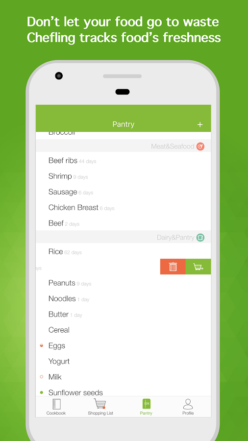 Chefling-Shopping list,recipes- screenshot