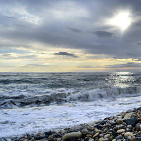 Waves clouds and sun! by Anastasis Agathokleous - Landscapes Waterscapes ( waves, waterscapes, rocks, sunset, cloudscape, clouds and sea, clouds, sun )