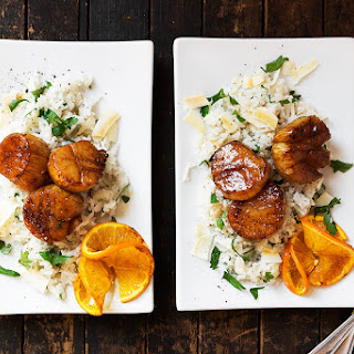 Orange Soy Scallops with Coconut Rice.