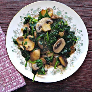 Sauteed Mushrooms with Spinach and Garlic.
