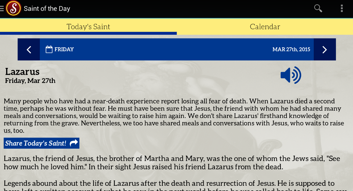 Saint of the Day- screenshot