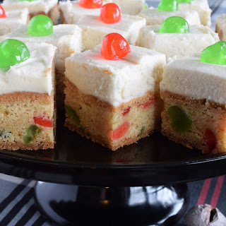 Cherry Cake Squares with Buttercream Frosting.