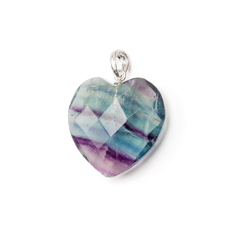 Fluorit, fasettslipat hjärta med silver fäste