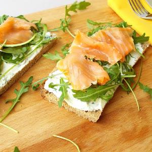 Open Sandwich Of Ricotta and Smoked Salmon