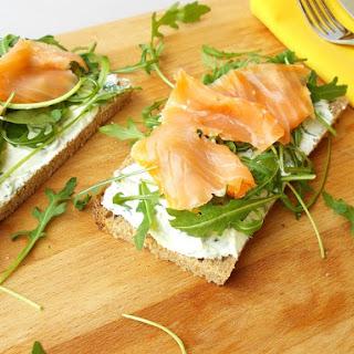 Open Sandwich Of Ricotta and Smoked Salmon.
