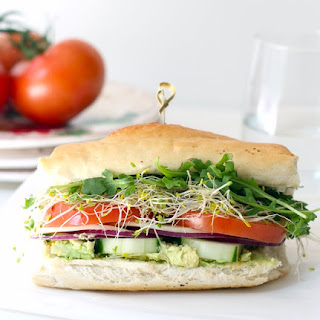 French Bread Roll Veggie Sandwich.