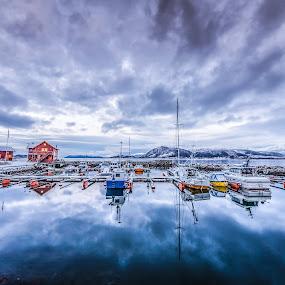 Blue harbour by Benny Høynes - Landscapes Cloud Formations ( clouds, blue sky, boats, sea, landscapes, norway )