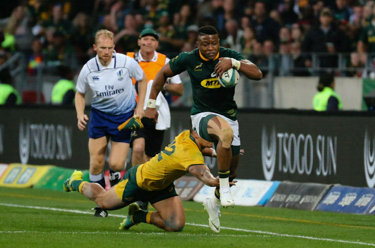 Aphiwe Dyantyi scored one of the tries in the rugby clash between the Springboks and the Wallabies in Port Elizabeth.