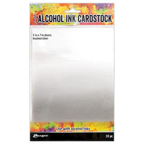Tim Holtz Alcohol Ink Cardstock 5X7 10/Pkg - Brushed Silver