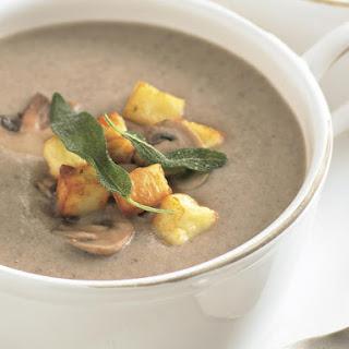 Mushroom Soup with Halloumi Croutons.