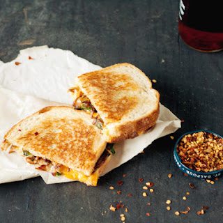 Grilled Cheese with Caramelized Onions and Spinach.