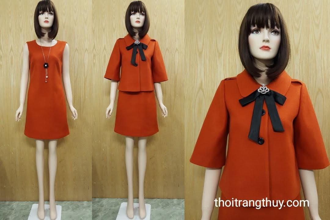 Áo khoác dạ thu đông và váy suông dạ V508 Thời Trang Thuỷ