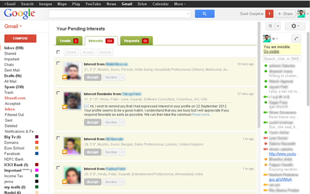 Shaadi.com Unified Inbox