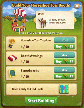 buildable items for Farmville 2 horseshoe toss booth