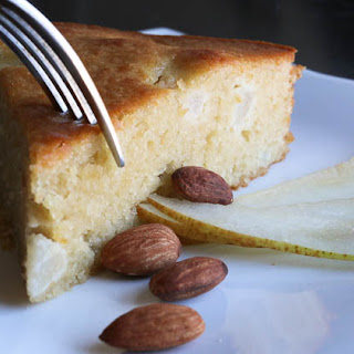 5 Ingredient Magically Moist Almond Pear Cake.