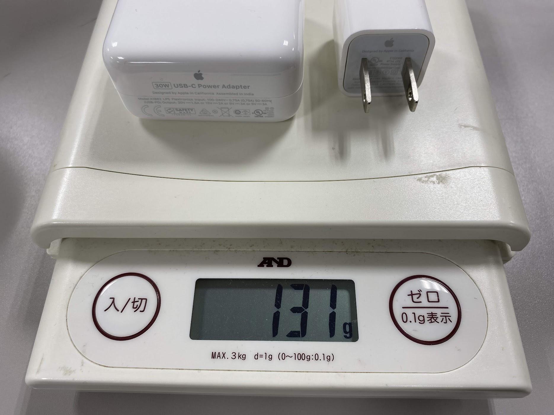 充電器2台の重さ