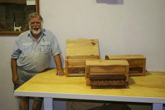 Photo: Roland's latest perseverance 3 of the 4 boxes for coffee pods Bunya pine and Tas Blackwood