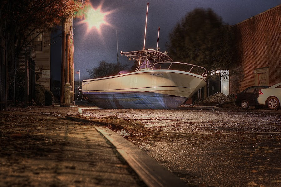 Boat Landing by Jeff Klein - News & Events Weather & Storms ( pwcstorms, disaster, street, night, storm, boat, hurricane )