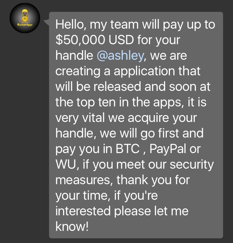 Scammer's offer to buy my Twitter handle.