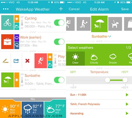 WakeApp base on Weather