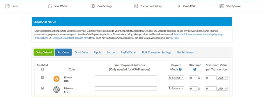 Coin Acceptance Settings on CoinPayments