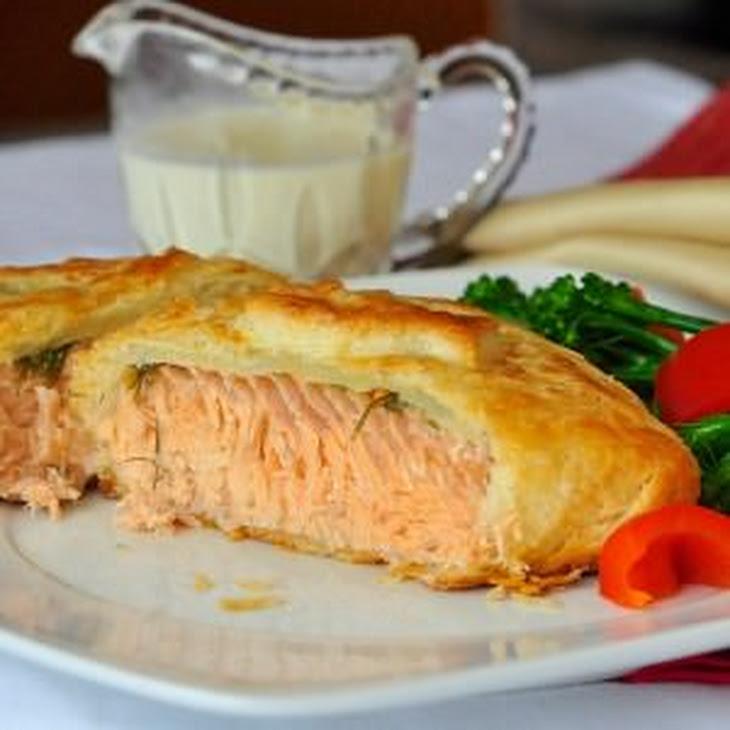 Salmon in Pastry with Dijon Cream Sauce