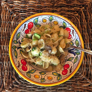 Orecchiette with Shaved Brussels Sprouts, Shallots & Pecorino Romano