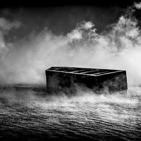 Harvey's Specters by Glen Sande - Black & White Landscapes ( mn, duluth, pentax a 50mm macro f2.8, winter, canal park, sea smoke, 2016, norfinlight, pentax k1, glen sande )
