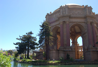 Photo: Requirement 1 (vertical vanishing point): It's interesting to compare this photo with the previous one (whose vertical vanishing points are eliminated). Both show the majesty and grandeur of the Palace of Fine Arts on a beautiful city day, but interestingly, the vertical vanishing points in this photo emphasize the height and immensity of the structure. I also zoomed in a bit more, to capture the action and size of the people walking and biking nearby (emphasizes the magnitude of the building). Shot at 1/250, f/7.1. Post-processing: slightly cropped.