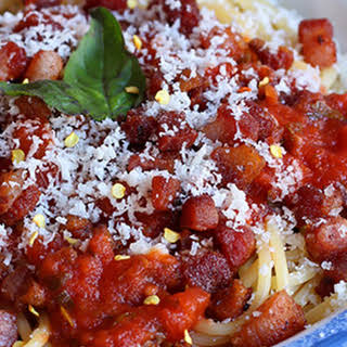 Low Carb Amatriciana Pasta.